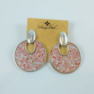Patricia Nash Simone Pink Floral Leather Earrings